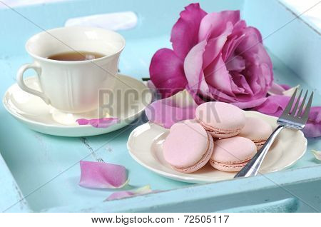 Stylish, Elegant, Shabby Chic Style Vintage Aqua Blue Tray With Macarons, Cup Of Tea And Bright Pink