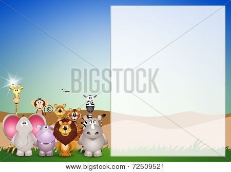 illustration of Animals of the Savannah background poster