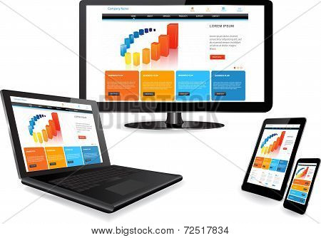 Website Template On Multiple Devices