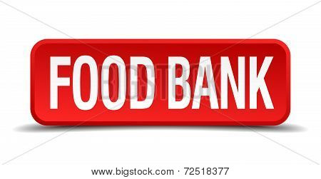 Food Bank Red 3D Square Button Isolated On White Background