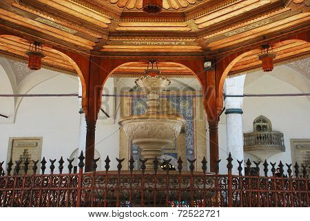The water fountain in the Gazi Husrev-Bey Mosque courtyard in Bas?arsija, Stari Grad, Sarajevo. This 16th centuy mosque, considered the most important Islamic building in Bosnia and one of the best examples of Ottoman architecture, was renovated in 1996 f poster