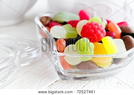 Colourful Candies In Heart Shaped Dish