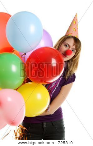 Girl With Colored Baloons