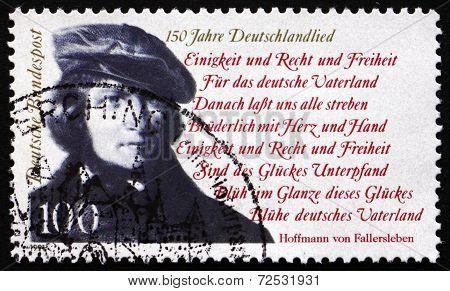 Postage Stamp Germany 1991 Hoffmann Von Fallersleben