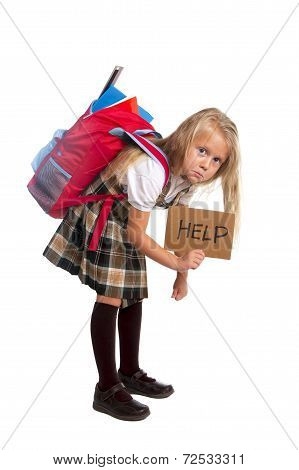 Sweet Little Girl Carrying Very Heavy Backpack Or Schoolbag Full