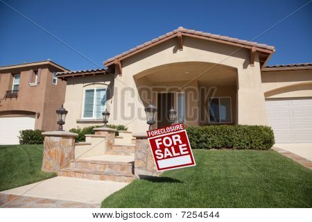 Foreclosure Home For Sale Sign and House with Dramatic Sky Background. poster