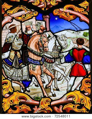 Three Kings - Stained Glass In Tours Cathedral