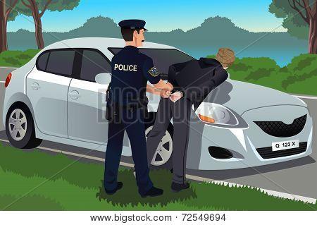 Cop Handcuffs A Law-breaker
