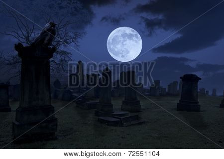 Spooky Night At Cemetery With Old Gravestones, Full Moon And Black Raven