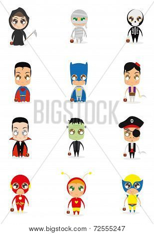 a set of different halloween costumes on a white background