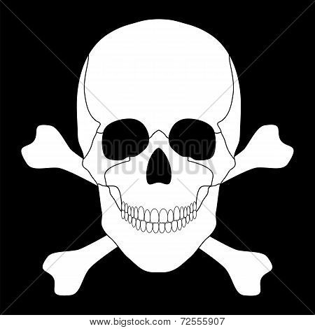 Vector illustration of a white skull and crossbones on a black background poster
