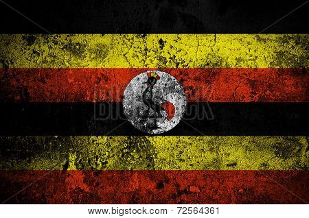 Grunge Flag Of Uganda With Capital In Kampala