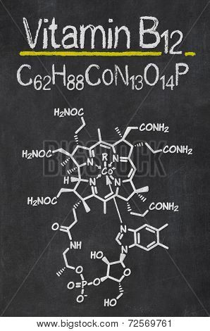 Blackboard with the chemical formula of Vitamin B12