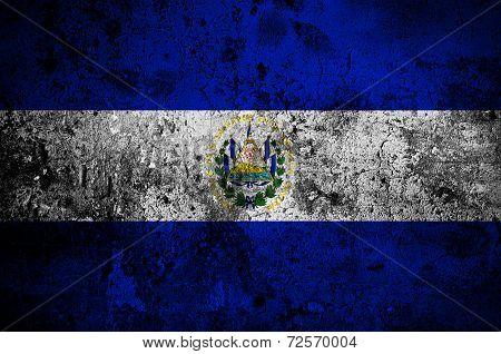 Grunge Flag Of El Salvador With Capital In San Salvador