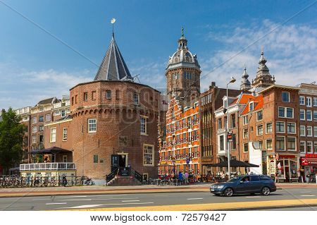 City View Of Amsterdam Street And Weeper's Tower, Holland, Netherlands.