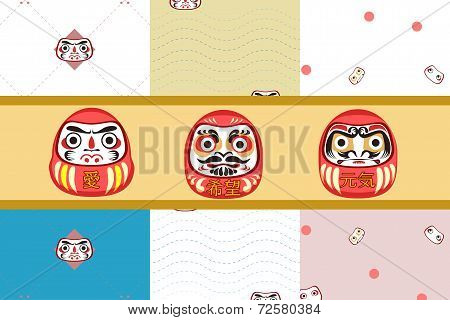 Daruma, Dharma doll, Japanese traditional with seamless pattern poster