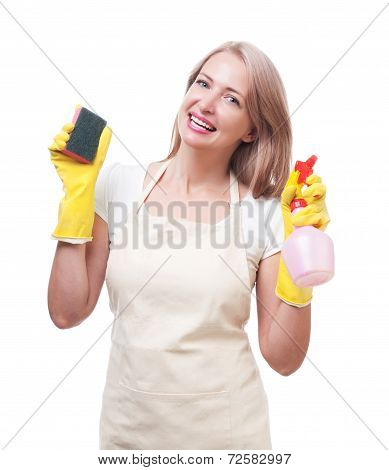 Beautiful woman doing housework in gloves with sponge isolated on white