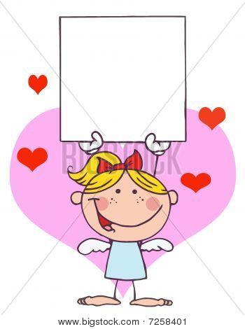 Cartoon Stick Cupid Mädchen mit Banner