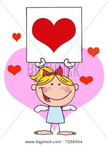 Cartoon Stick Cupid Mädchen mit Banner-Herzen