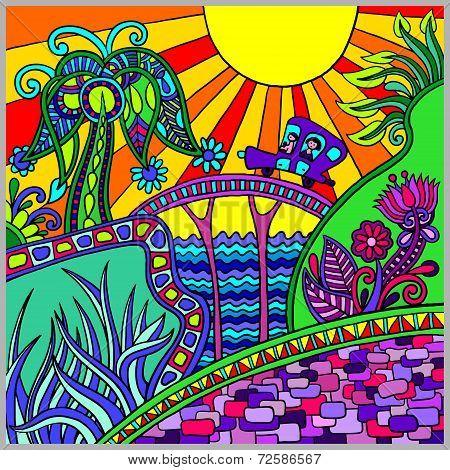artistic colored decorative landscape composition