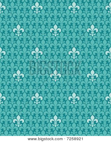 Turquoise seamless vector background (fleur de lys pattern) poster
