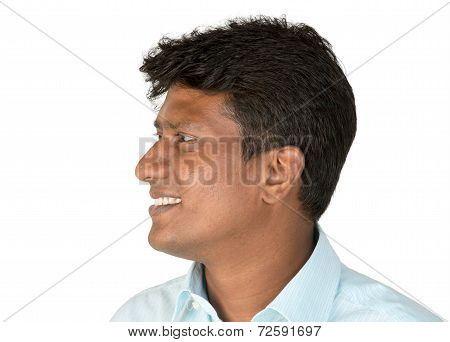Indian man looking sideways