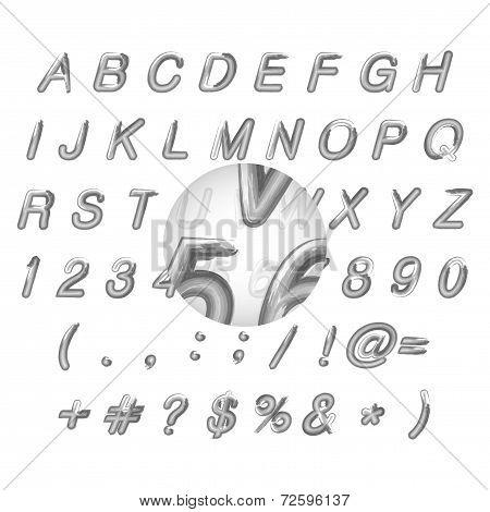 Calligraphic black watercolor alphabet vector illustration