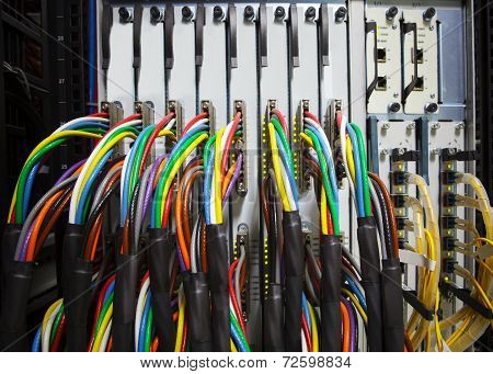 Arrangement Stack Of Colorful Electronic Cable Wire Socket Hub In Telecommunication Control Room