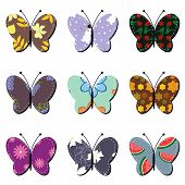 scrapbook butterflies on white background vector illustration poster