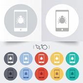 Smartphone virus sign icon. Software bug symbol. Round 12 circle buttons. Shadow. Hand cursor pointer. Vector poster