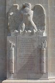 Inscription on monument to American 93rd, 36th, 2nd and 42nd Divisions which served in the Champagne sector of the First World War Western Front in 1918. It stands atop the Blanc Mont Ridge (Sommepy-Tahure, France) which was captured by the Americans. poster