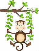 Scalable vectorial image representing a monkey in a swing, isolated on white. poster