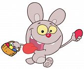 Purple Bunny Running And Holding Up An Egg And Carrying A Basket During An Easter Egg Hunt poster