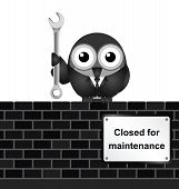 Monochrome comical website closed for maintenance sign on brick wall isolated on white background poster