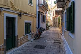 A Narrow Street Of The Greek City Of Lefkada