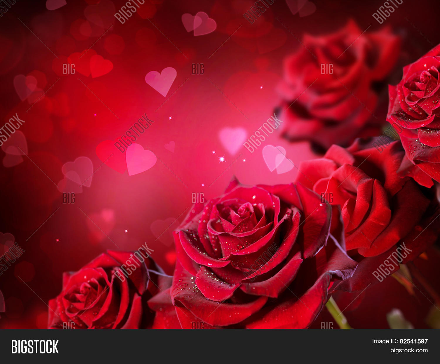 Roses hearts background valentine image photo bigstock roses and hearts background valentine or wedding card design beautiful red roses bouquet over izmirmasajfo Choice Image