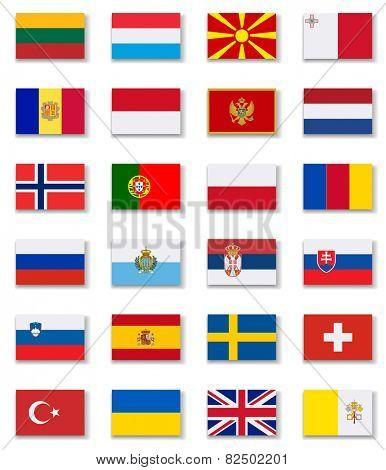 European Countries Flags Set 2 .Vector