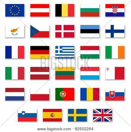 European Countries Flags Set 1 .Vector