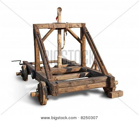 Wooden trebuchet catapult