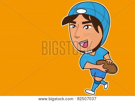 Sport cartoon and rugby player