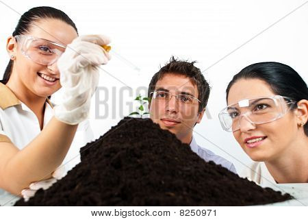 Happy Biologists In Laboratory
