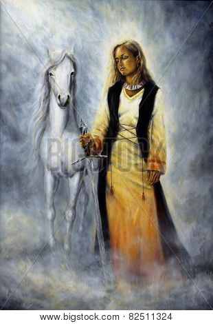 A beautiful oil painting of a mystical woman in historical dress holding a sword of silver with a white horse as her protective companion at her side poster
