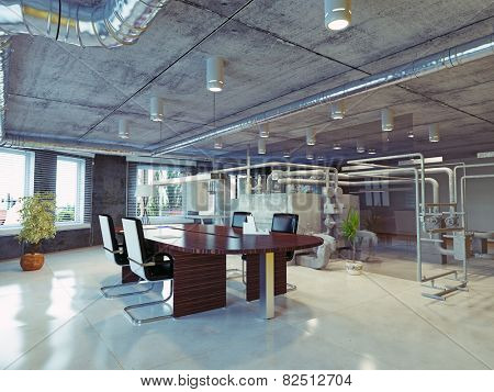 modern loft office interior. 3d design concept