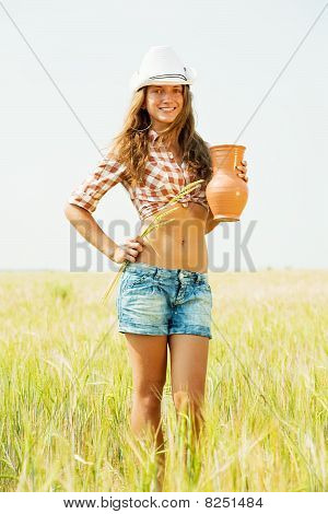 Girl  With Jug At Cereals Field