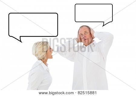 Angry older couple arguing with each other against speech bubble