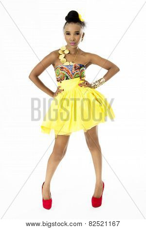 Full-Length Picture of Beautiful African Model Wearing a Modern Traditional Designer Dress