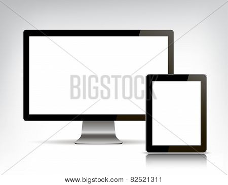 vector set of realistic personal computer and tablet