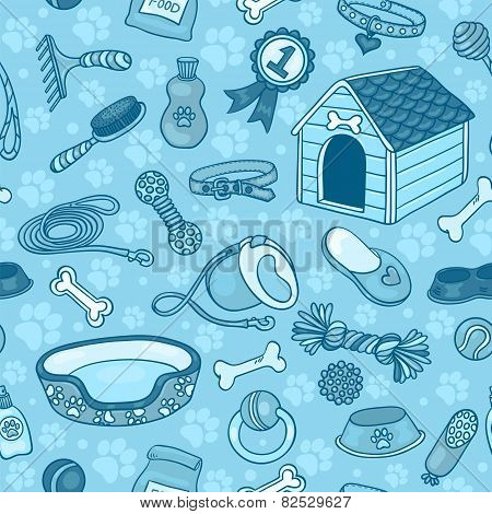Seamless Pattern With Accessories For Dogs Blue