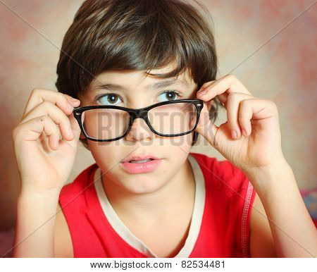 Handsome Preteen Boy With Correction Myopia Glasses
