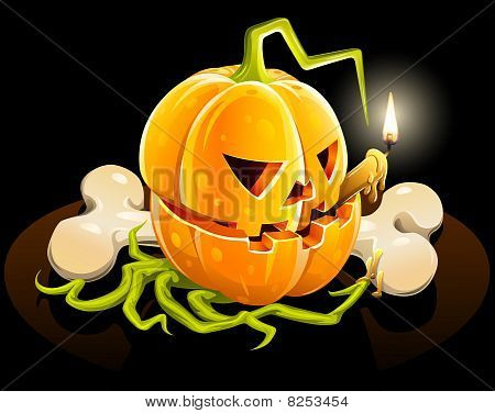 pumpkin with skeleton bone on black background